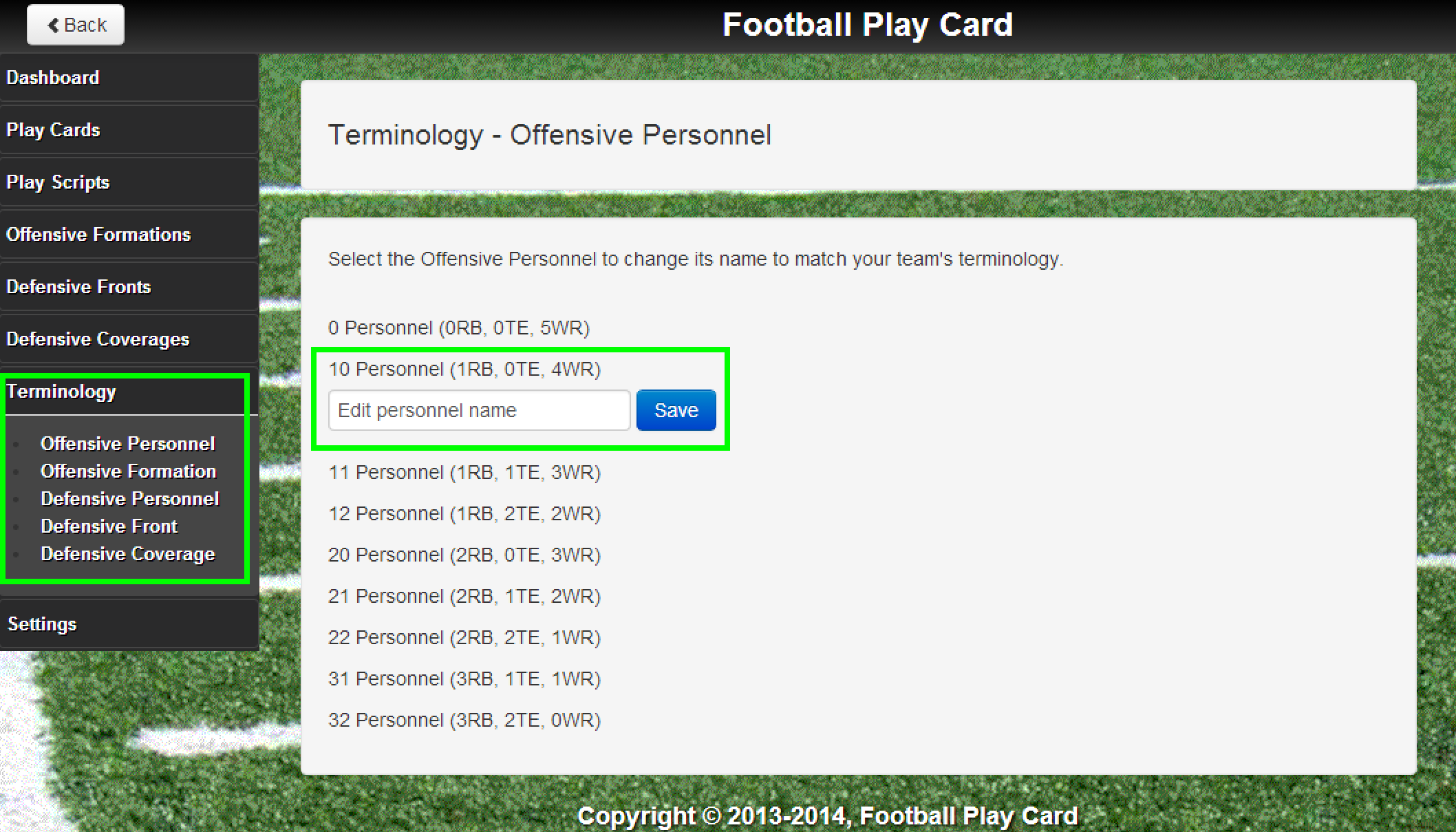 Change the terminology of offensive personnels, formations, defensive personnels, fronts, and coverages