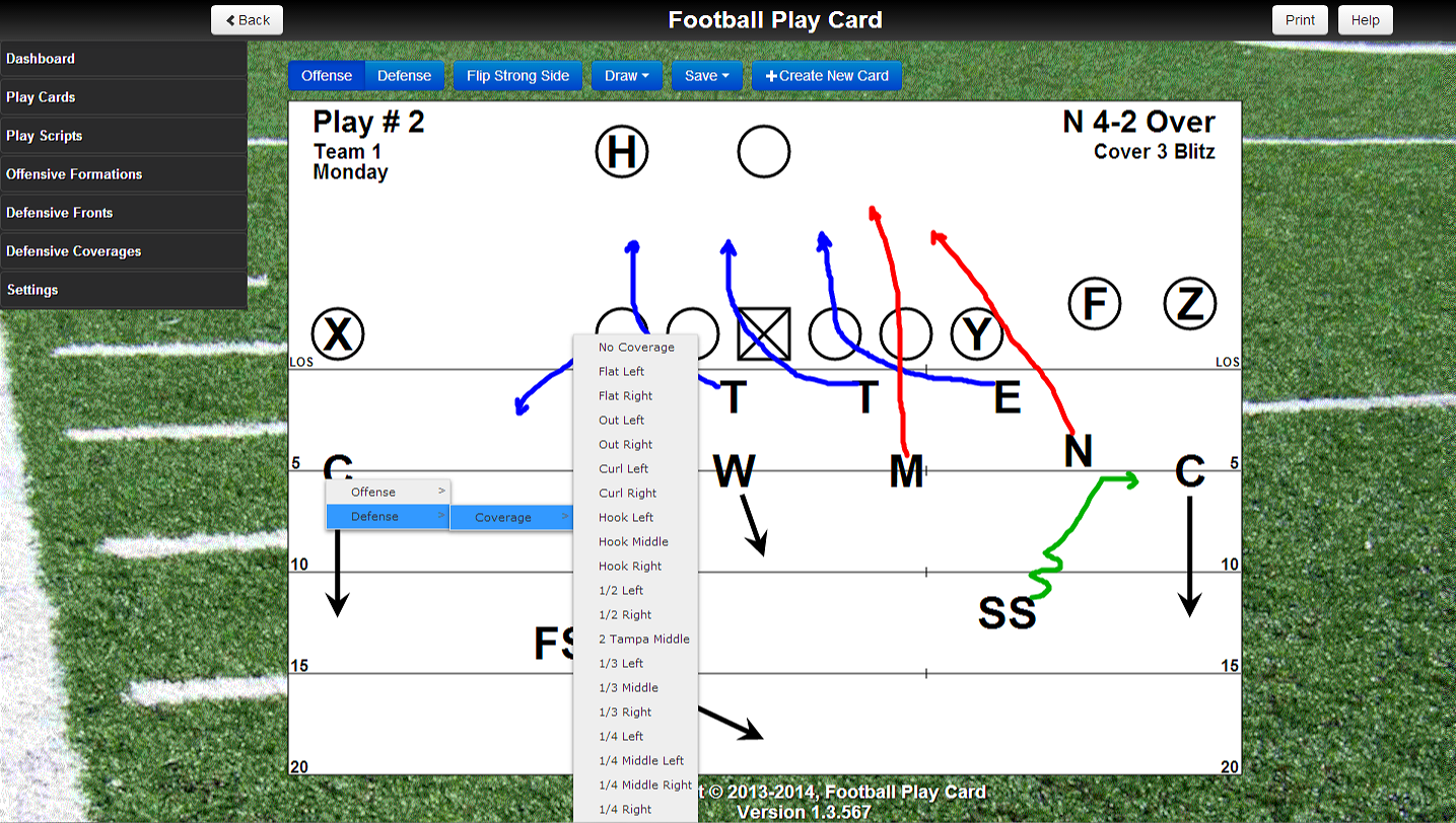 Football Play Card - Select a Coverage Zone