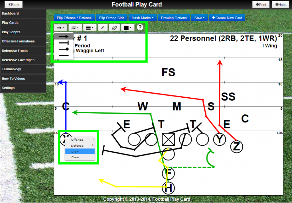 Draw cards like a pro with the new Football Play Card drawing tools