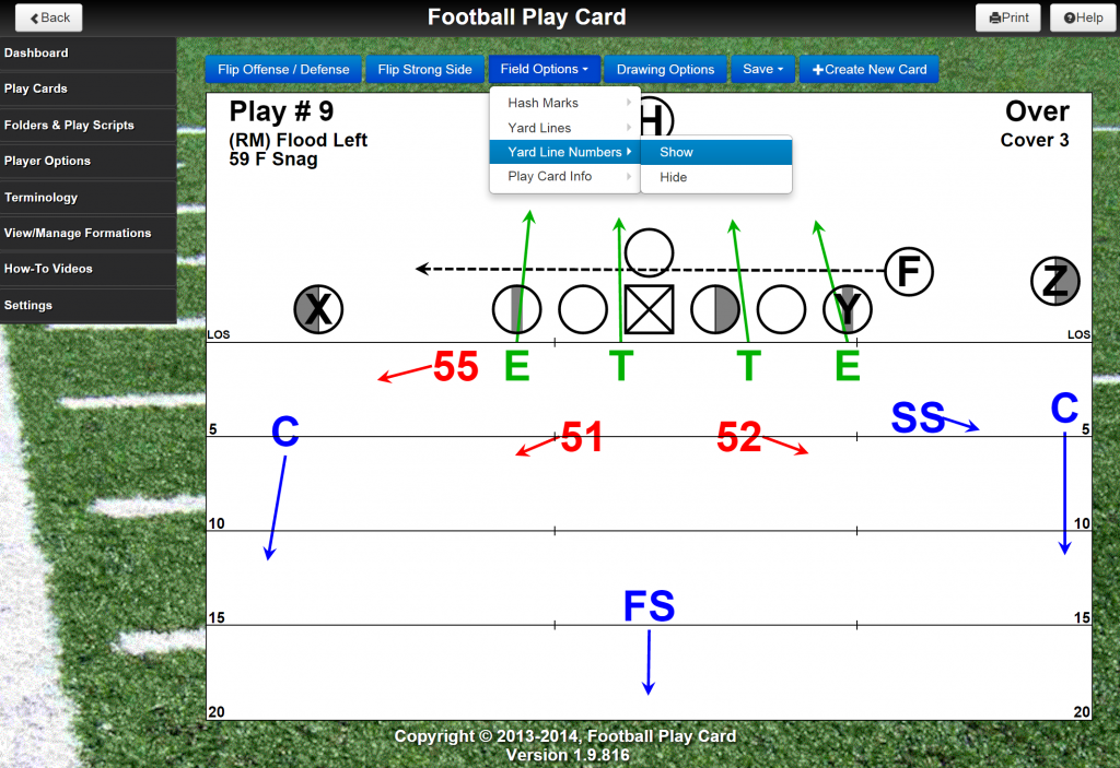 Select to display or hide the yard line numbers