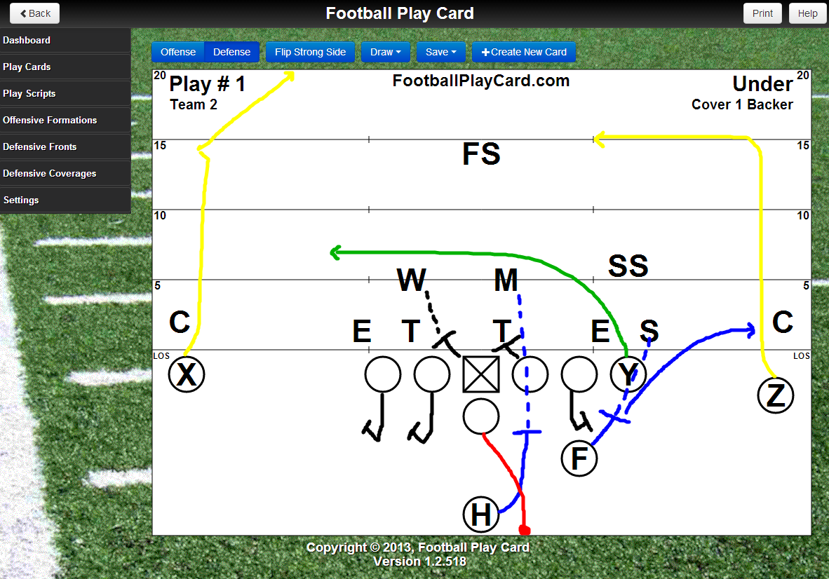 Football Play Card With Drawing