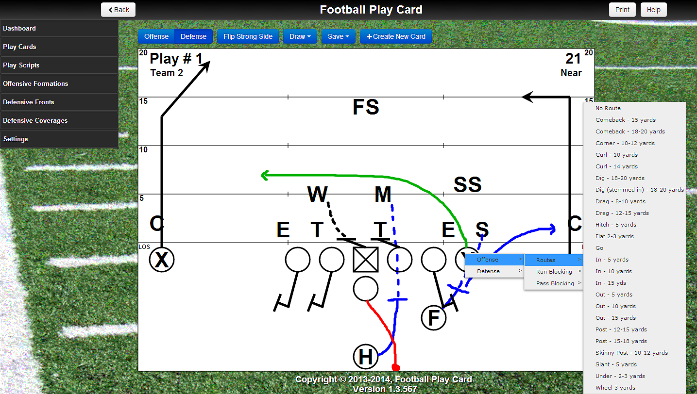 Add a route or block to an offensive player by tapping on the player letter and selecting the action.