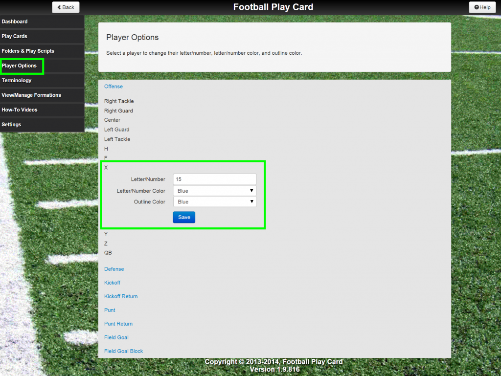 Update Player Options at the system level so each play card created displays the updated player attributes