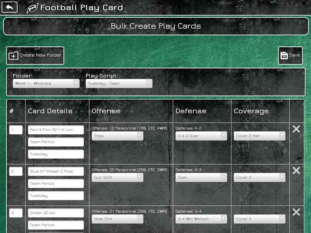 Football Play Card - Bulk Create Cards
