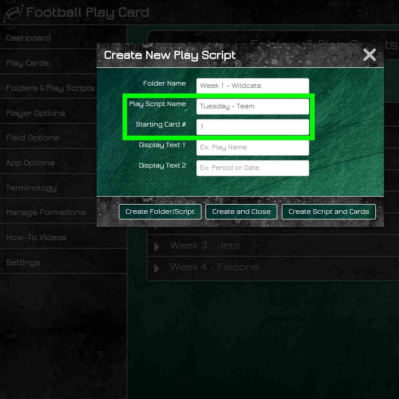 Football Play Card - Folders and Play Scripts