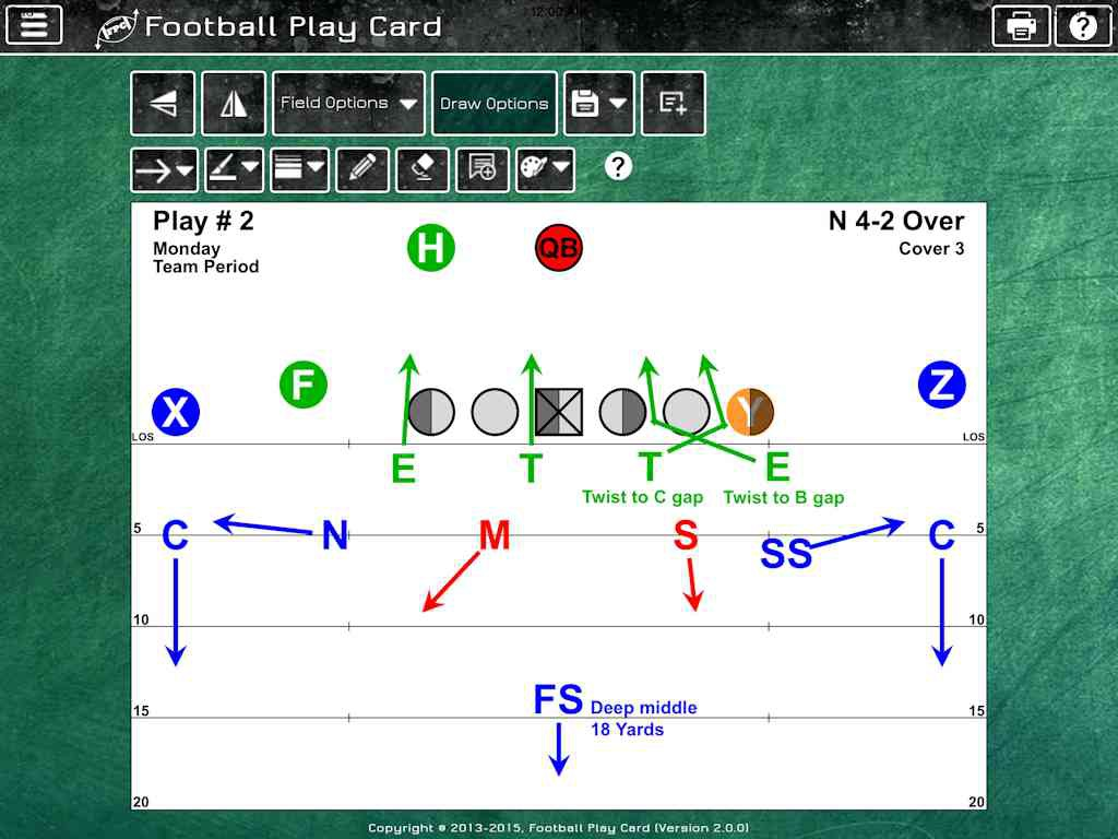Football Play Card - Defense