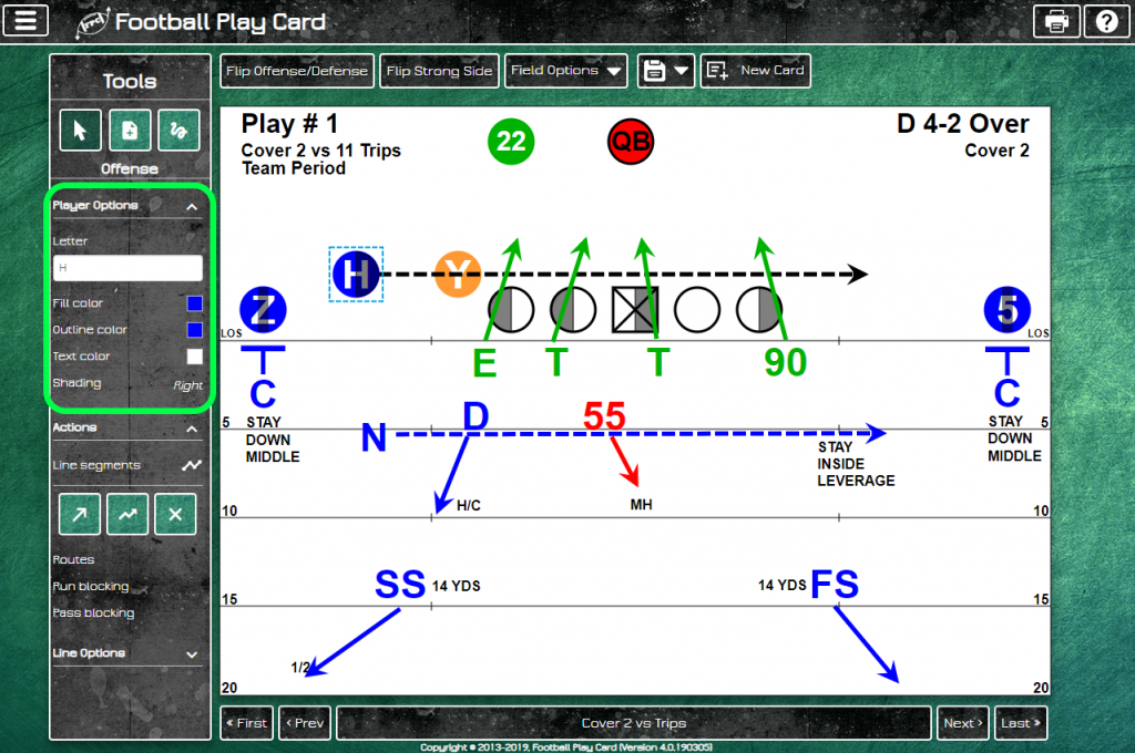 Football Play Card - Update Player Options