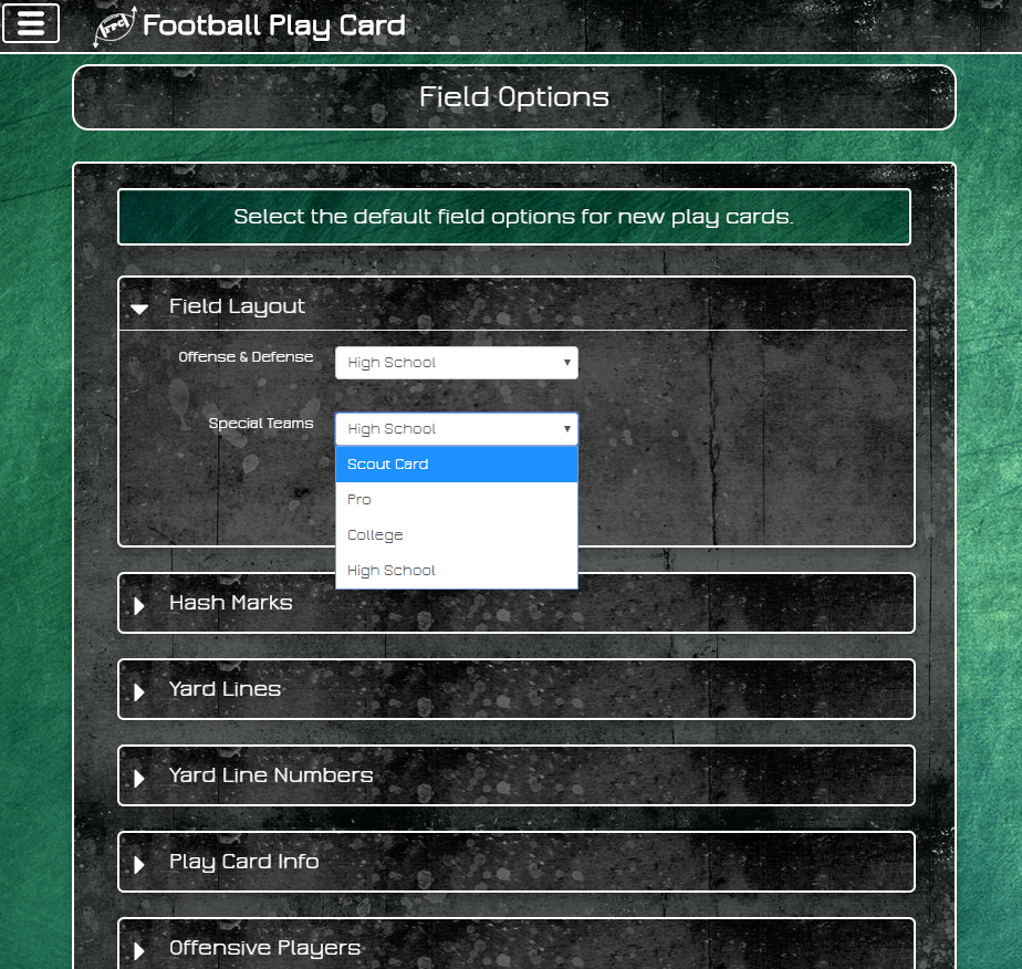 Football Play Card - Field Layout Setting