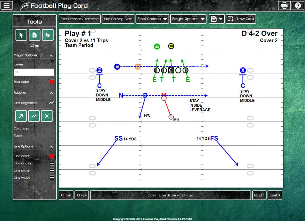 Football Play Card - College Field Layout - Defense