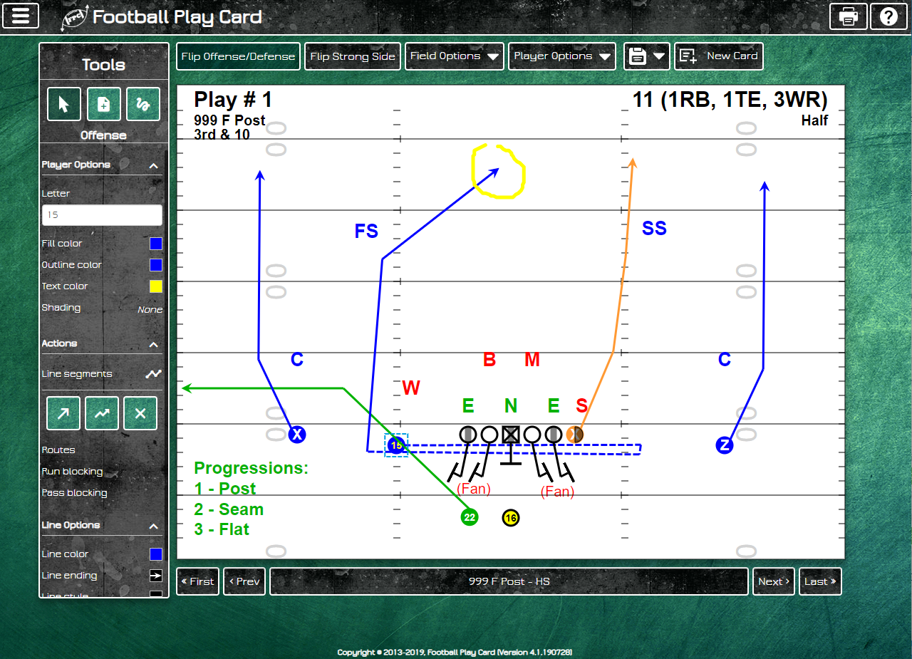 Football Play Card - High School Field Layout - Offense