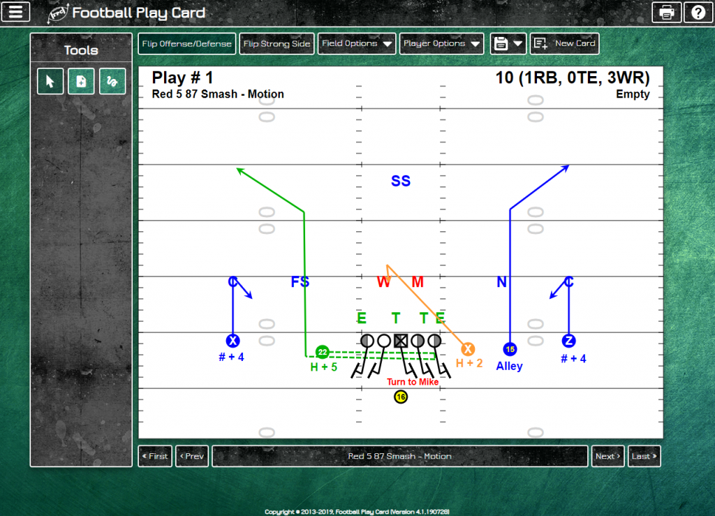 Football Play Card - Pro Field Layout - Defense