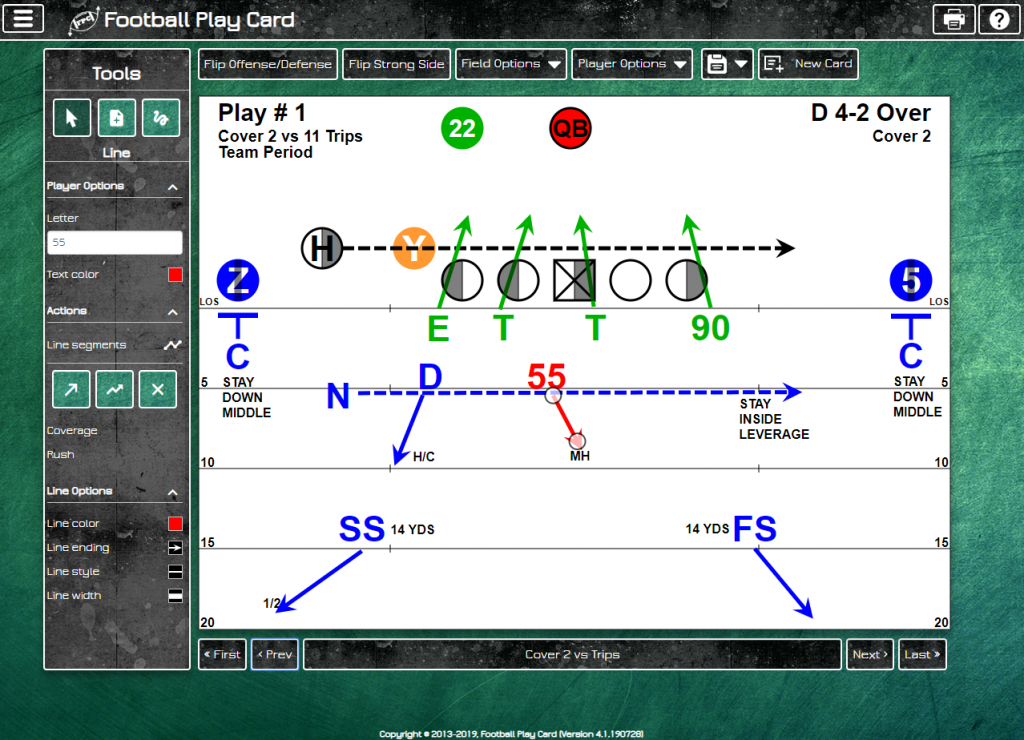 Football Play Card - Scout Card Layout - Defense