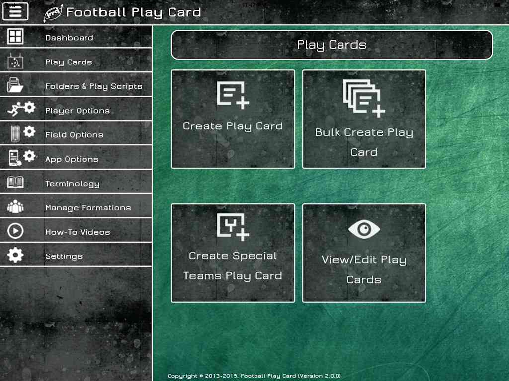 Football Play Card - Create Card Options