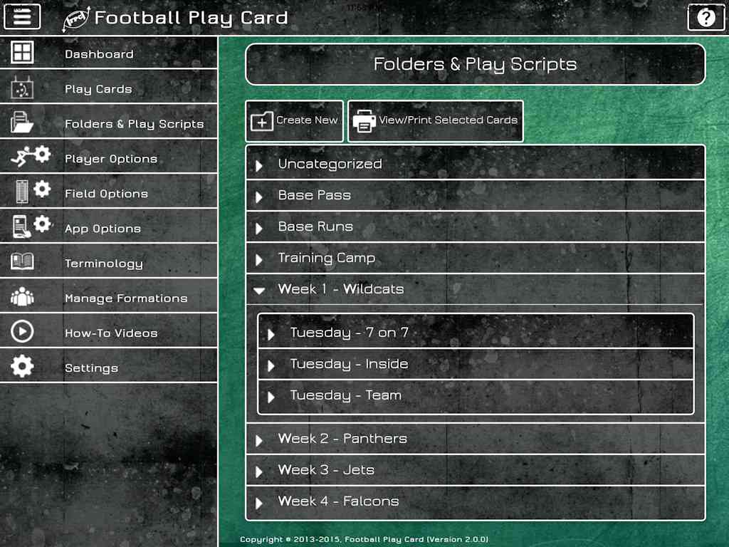 Football Play Card - Play Scripts