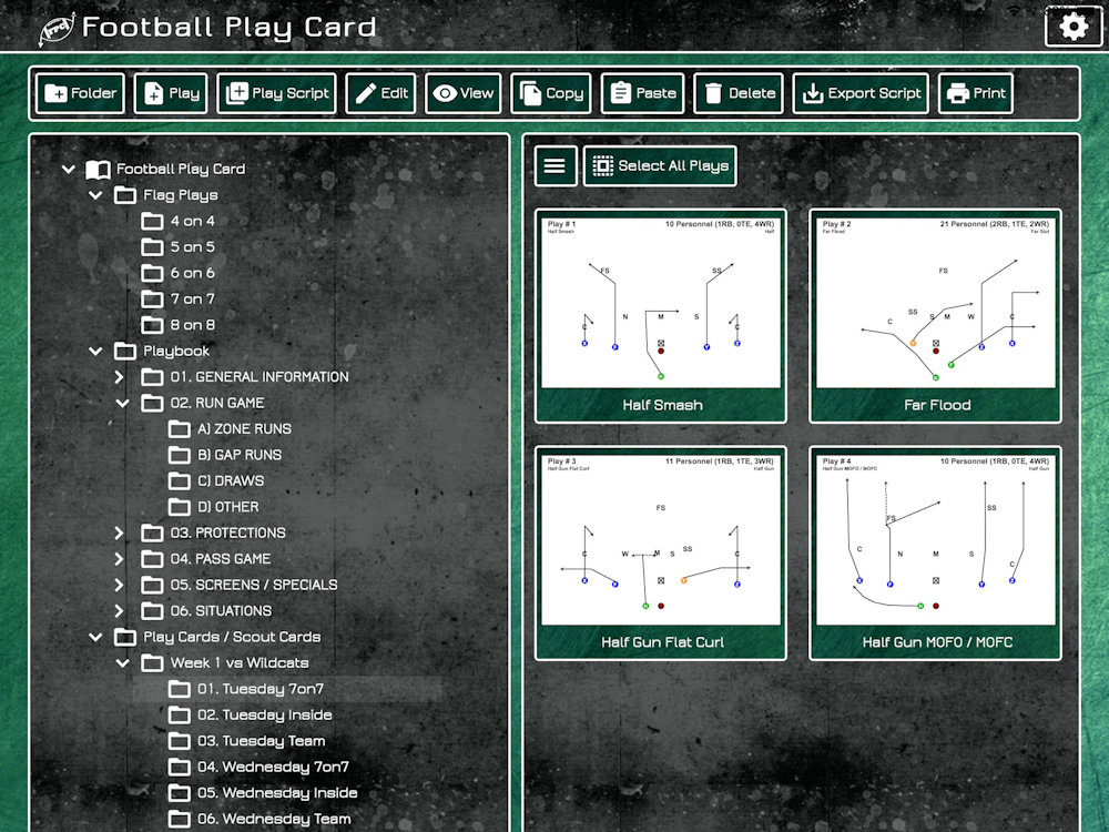 Football Play Card - Play Card Offense